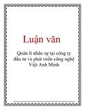 Luận văn: Quản lí nhân sự tại công ty đầu tư và phát triển công nghệ Việt Anh Minh