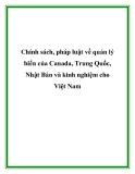 Chính sách, pháp luật về quản lý biển của Canada, Trung Quốc, Nhật Bản và kinh nghiệm cho Việt Nam