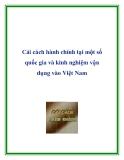 Cải cách hành chính tại một số quốc gia và kinh nghiệm vận dụng vào Việt Nam