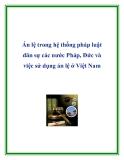Án lệ trong hệ thống pháp luật dân sự các nước Pháp, Đức và việc sử dụng án lệ ở Việt Nam