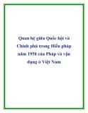 Quan hệ giữa Quốc hội và Chính phủ trong Hiến pháp năm 1958 của Pháp và vận dụng ở Việt Nam