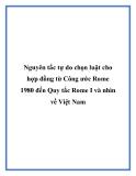Nguyên tắc tự do chọn luật cho hợp đồng từ Công ước Rome 1980 đến Quy tắc Rome I và nhìn về Việt Nam