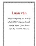 Luận văn: Thực trạng công tác quản lý thuế GTGT của các Doanh nghiệp ngoài Quốc doanh trên địa bàn tỉnh Phú Thọ