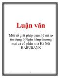 Luận văn: Một số giải pháp quản lý rủi ro tín dụng ở Ngân hàng thương mại và cổ phần nhà Hà Nội HABUBANK