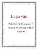 Luận văn: Phân tích hệ thống quản lý nhân sự trong Công ty Than Cao Sơn