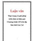 Luận văn: Thực trạng và giải pháp triển khai có hiệu quả Chương trình 135 trên địa bàn tỉnh Lào Cai