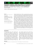 Báo cáo khoa học: Translation initiation region dependency of translation initiation in Escherichia coli by IF1 and kasugamycin