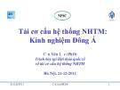 Tái cơ cấu hệ thống NHTM: một số vấn đề cơ bản
