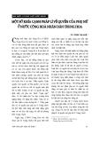 """Báo cáo """" Một số khía cạnh pháp lí về quyền của phụ nữ ở nước Cộng hoà nhân dân Trung Hoa """""""