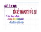 Tổng kết nhóm nguyên tố (C, H, O)
