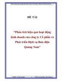 """ĐỀ TÀI """"Phân tích hiệu quả hoạt động kinh doanh của công ty Cổ phần và Phát triển Dịch vụ Bưu điện Quảng Nam"""""""