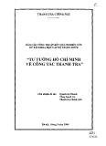 Sách Tư tưởng Hồ Chí Minh về công tác thanh tra