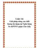Luận văn Giải pháp nâng cao chất lượng tín dụng tại Ngân hàng No &PTNT quận Cầu Giấy