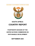 SOUTH AFRICA COUNTRY REPORT FOURTEENTH SESSION OF THE  UNITED NATIONS COMMISSION ON  SUSTAINABLE DEVELOPMENT