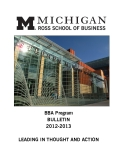 BBA Program  BULLETIN  2012-2013: LEADING IN THOUGHT AND ACTION