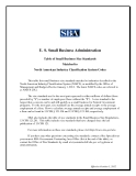 Table of Small Business Size Standards  Matched to  North American Industry Classification System Codes