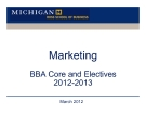Marketing BBA Core and Electives 2012-2013