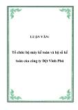 LUẬN VĂN:  Tổ chức bộ máy kế toán và bộ sổ kế toán của công ty Dệt Vĩnh Phú