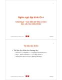 Ngôn ngữ lập trình C++ - Chương 2 – Các kiểu dữ liệu cơ bản Các cấu trúc điều khiển