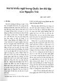 Báo cáo khoa học: Hư từ khẩu ngữ trong Quốc Âm thi tập của Nguyễn Trãi