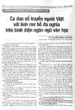 Ca dao cổ truyền người Việt  với tính mơ hồ đa nghĩa trên bình diện ngôn ngữ văn học