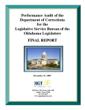 Performance Audit of the Department of Corrections for the Legislative Service Bureau of the Oklahoma Legislature