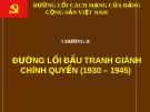 ĐƯỜNG LỐI CÁCH MẠNG CỦA ĐẢNG CỘNG SẢN VIỆT NAM - CHƯƠNG II : ĐƯỜNG LỐI ĐẤU TRANH GIÀNH CHÍNH QUYỀN (1930 – 1945)