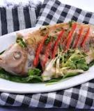 Cá điêu hồng hấp lá nhàu