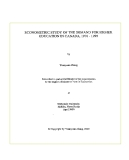 "Research "" ECONOMETRIC STUDY OF THE DEMAND FOR HIGHER EDUCATION IN CANADA, 1976-1995 """
