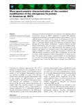 Báo cáo khoa học: Mass spectrometric characterization of the covalent modification of the nitrogenase Fe-protein in Azoarcus sp. BH72
