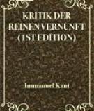 Kritik der reinen Vernunft (1st Edition)