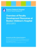 Overview of Faculty Development Resources at Boston Children's Hospital 2012-2013