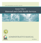 Iowa Department of Public Health  Maternal and Child Health  Administrative Manual  Fourth Edition