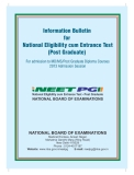 Information Bulletin for National Eligibility cum Entrance Test (Post Graduate) For admission to MD/MS/Post Graduate Diploma Courses 2013 Admission Session