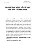 QUY LUẬT LƯU THÔNG TIỀN TỆ THEO QUAN ĐIỂM CỦA KARL MARX