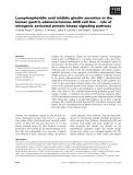 Báo cáo khoa học: Lysophosphatidic acid inhibits ghrelin secretion in the human gastric adenocarcinoma AGS cell line ) role of mitogenic activated protein kinase signaling pathway