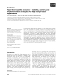Báo cáo khoa học: Hyperthermophilic enzymes ) stability, activity and implementation strategies for high temperature applications