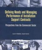 Defining Needs and Managing Performance of Installation Support Contracts