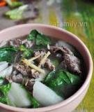 Canh rau cải thịt bò thơm lừng nóng hổi