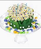 Cắm hoa cúc thành bánh gato xinh xắn