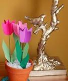 3 bước đơn giản làm hoa tulip giấy rực rỡ