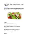 Chế độ ăn kiêng giảm cân nhanh trong 3 ngày