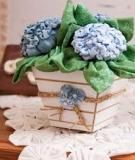 Làm chậu hoa cẩm tú cầu dễ thương bằng vải