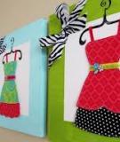 Làm bộ tranh vải thời trang cho phòng thêm xinh