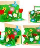 Thiệp nổi vườn hoa 3D sinh động cho bé