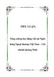 TIỂU LUẬN:  Tăng cường huy động vốn tại Ngân hàng Ngoại thương Việt Nam – Chi nhánh Quảng Ninh