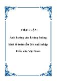 TIỂU LUẬN:  Ảnh hưởng của khủng hoảng kinh tế toàn cầu đến xuất nhập khẩu của Việt Nam