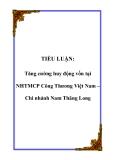 TIỂU LUẬN: Tăng cường huy động vốn tại NHTMCP Công Thương Việt Nam – Chi nhánh Nam Thăng Long