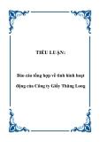 TIỂU LUẬN:  Báo cáo tổng hợp về tình hình hoạt động của Công ty Giầy Thăng Long