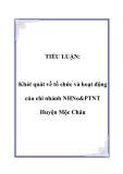 TIỂU LUẬN:  Khát quát về tổ chức và hoạt động của chi nhánh NHNo&PTNT Huyện Mộc Châu
